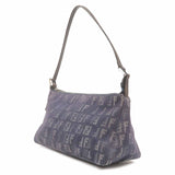 FENDI Zucchino Print Canvas Leather Hand Bag Navy-dct-ep_vintage luxury Store