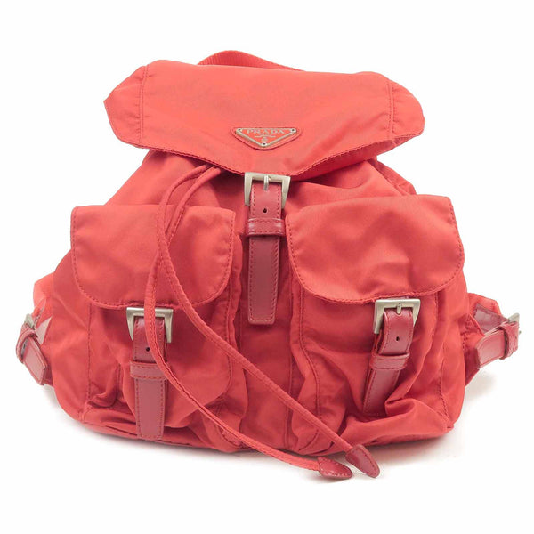 PRADA Nylon Leather Back Pack Red