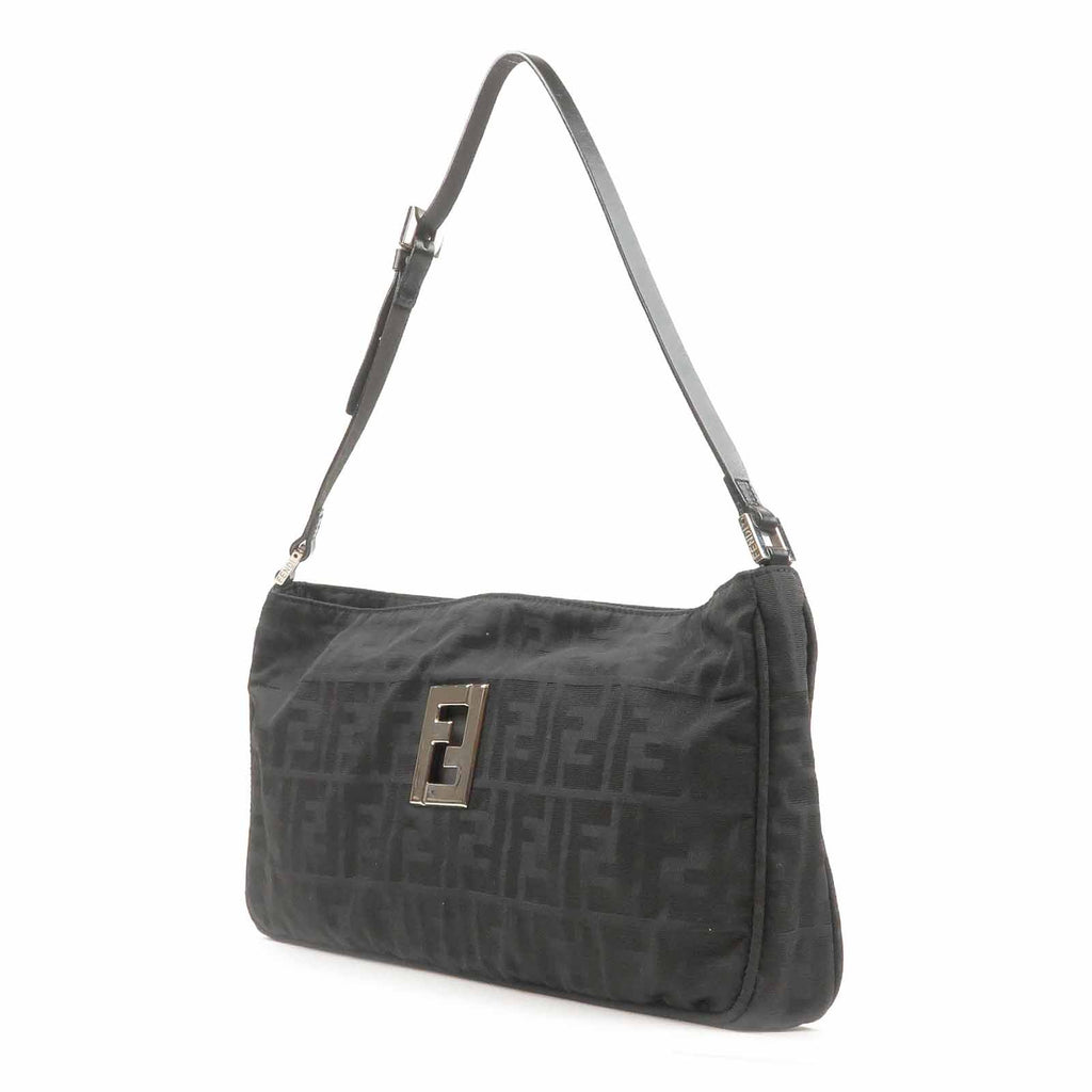 FENDI Zucca Print Canvas Leather Shoulder Bag Black-dct-ep_vintage luxury Store