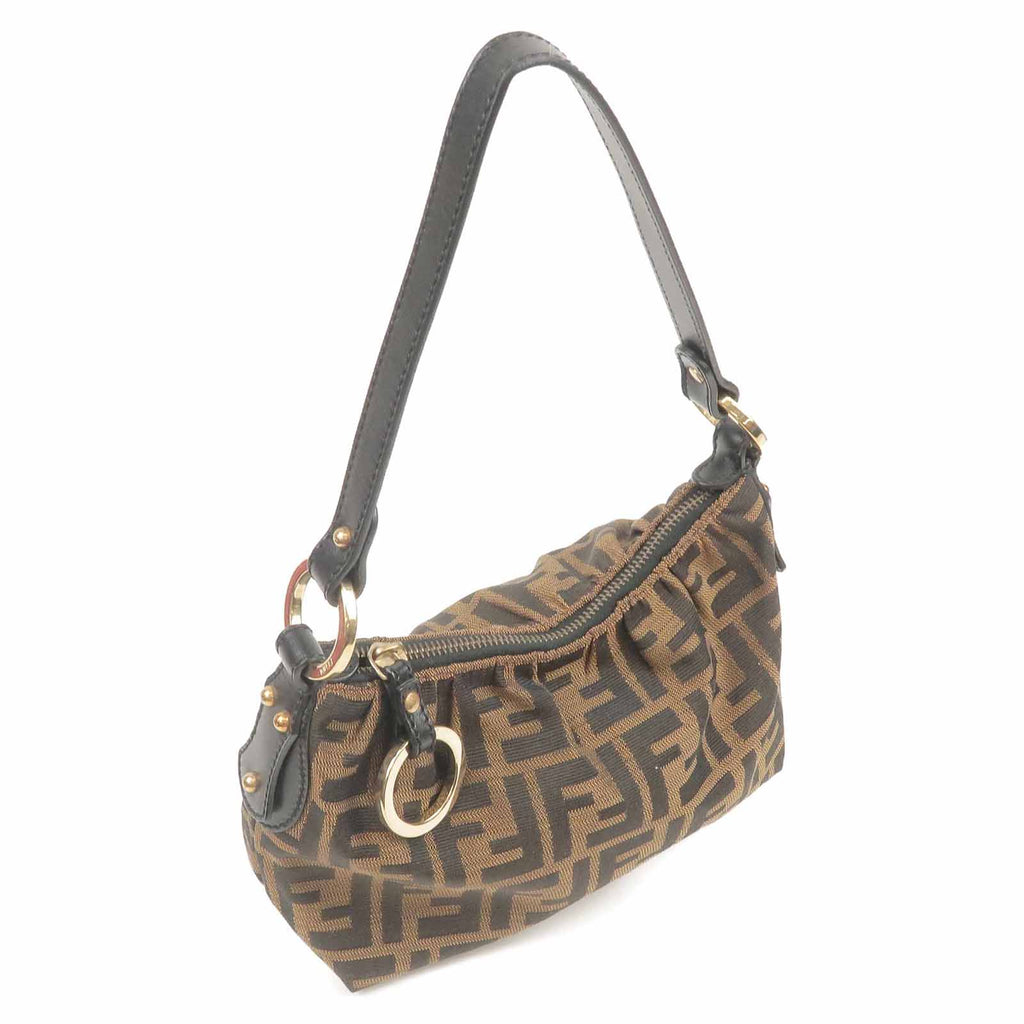 FENDI Zucca Print Canvas Leather Mini Hand Bag Brown Khaki-dct-ep_vintage luxury Store