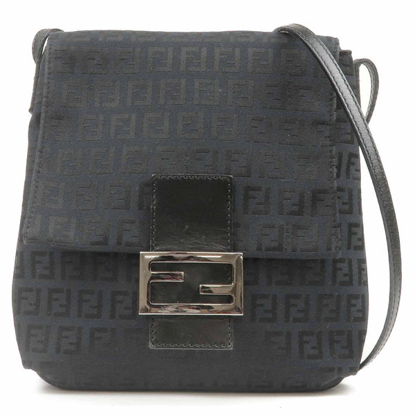 FENDI Zucchino Print Canvas Leather Shoulder Bag Black