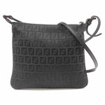 FENDI Zucchino Print Canvas Leather Shoulder Bag Black 8BT047