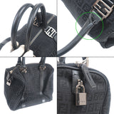 FENDI Zucchino Canvas Leather Boston Hand Bag Black 8BL068-dct-ep_vintage luxury Store