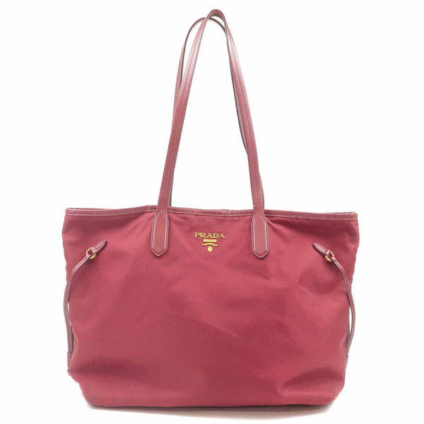 PRADA Nylon Leather Tote Bag Red