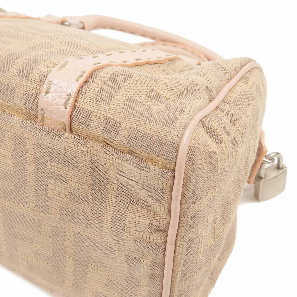 FENDI Selleria Zucca Canvas Leather Boston Bag Pink 8BL064-dct-ep_vintage luxury Store