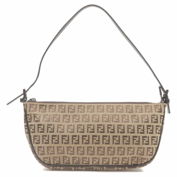 FENDI Zucchino Print Canvas Leather Hand Bag Beige 8BR144-dct-ep_vintage luxury Store