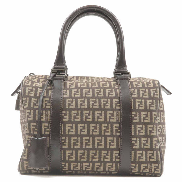 FENDI Zucchino Canvas Leather Mini Boston Bag Brown 8BL068-dct-ep_vintage luxury Store
