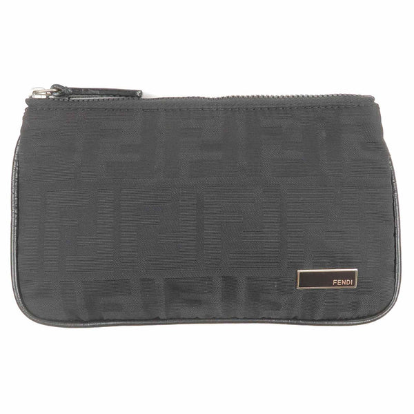 FENDI Zucca Print Canvas Leather Pouch Black-dct-ep_vintage luxury Store