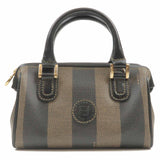 FENDI Pequin Striped Boston Bag Hand Bag PVC Leather Brown-dct-ep_vintage luxury Store