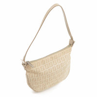 FENDI Zucchino Print Canvas Leather Hand Bag Beige Ivory-dct-ep_vintage luxury Store