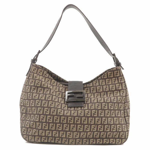 FENDI Zucchino Print Canvas Leather Shoulder Bag Brown 8BR037-dct-ep_vintage luxury Store