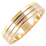 Cartier Three Color Ring K18 750 YG/WG/PG #56 US8 HK17 EU56.5