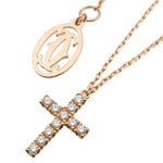Cartier Symbol Cross Diamond Necklace K18 Rose Gold AJL934