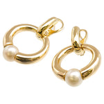 Cartier Perla Pearl Hoop Earrings K18YG 750YG Yellow Gold