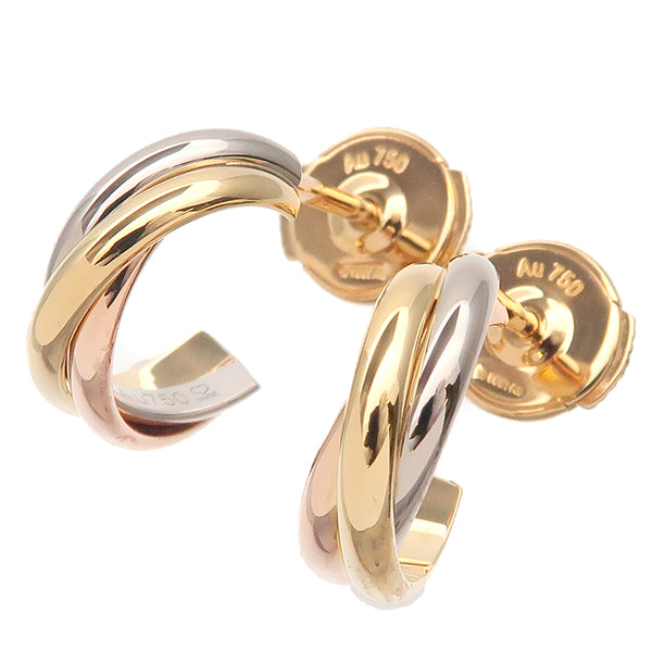 Cartier Trinity Earrings K18 750 Yellow White Rose Gold