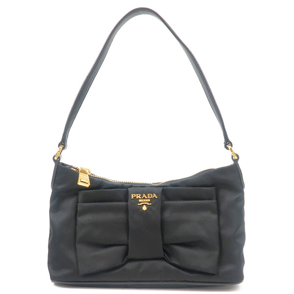 PRADA Nylon Leather Shoulder Bag Black 1N1439