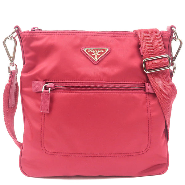 PRADA Nylon Leather Shoulder Bag Red Pink BT0716