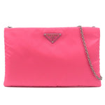 PRADA Nylon Leather 2Way Chain Shoulder Bag Pink 1BF081