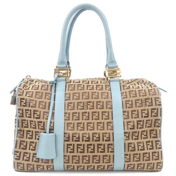 FENDI Zucchino Canvas Leather Boston Hand Bag Beige Blue