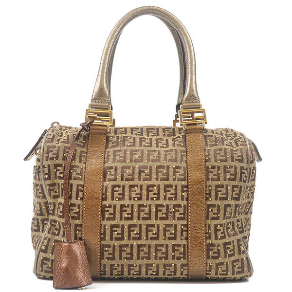 FENDI Zucchino Canvas Studs Leather Hand Bag Beige 8BL068