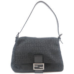 FENDI Zucchino Mamma Baguette Canvas Shoulder Bag Black 8BR001
