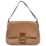 FENDI Zucchino Mamma Baguette PVC Shoulder Bag Brown 8BR001