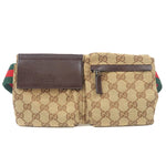 GUCCI Sherry Line GG Canvas Leather Waist Bag Brown 162962