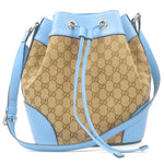 GUCCI GG Canvas Leather Shoulder Bag Beige Light Blue 381597