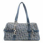 Christian Dior Trotter Canvas Leather Shoulder Bag Navy