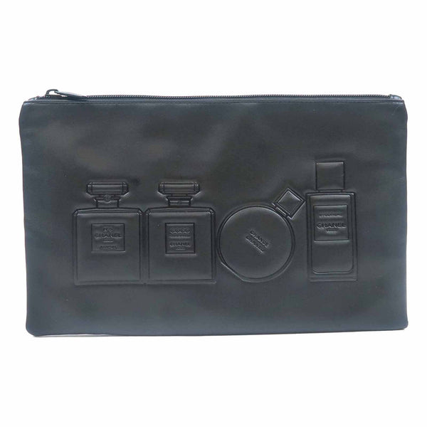 CHANEL Novelty Cosmetic Pouch Clutch Bag Black