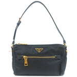 PRADA Nylon Leather Pouch Shoulder Bag Purse Black BN1834