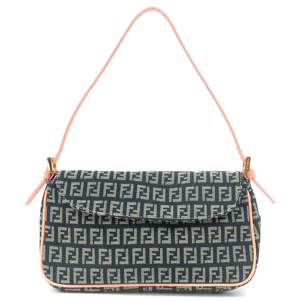 FENDI Zucchino Print Canvas Leather Purse Black Pink 8BR145