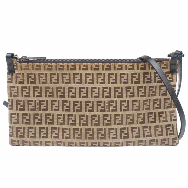 FENDI Zucchino Print Canvas Leather Shoulder Bag Beige 8BT002