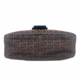 FENDI Zucchino Mamma Baguette Canvas Shoulder Bag Brown 8BR003