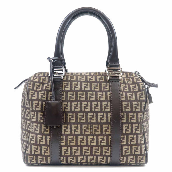 FENDI Zucchino Canvas Leather Mini Boston Bag Brown 8BL068