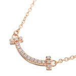 Tiffany&Co. T Smile Mini Diamond Necklace K18PG Rose Gold