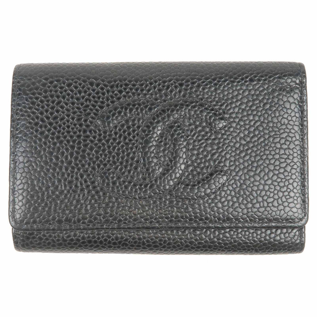CHANEL-Caviar-Skin-Coco-Mark-Key-Case-Black-A13502-