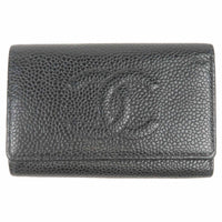 CHANEL Caviar Skin Coco Mark Key Case A13502