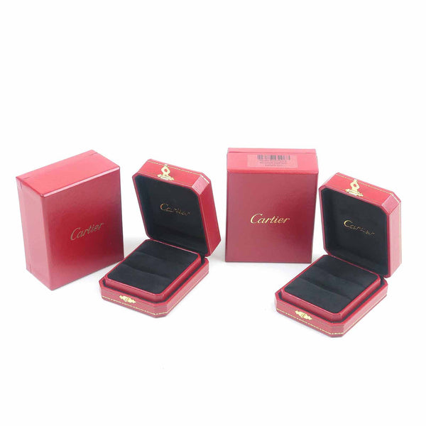 Cartier Set of 2 Pair Ring Box Jewelry Box For Ring Red