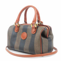 FENDI Pequin PVC Leather 2Way Mini Boston Bag Hand Bag Brown
