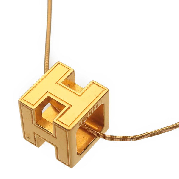 HERMES H Cube Necklace Gold Color