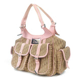 Christian Dior Trotter Canvas Leather Shoulder Beige Pink