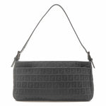 FENDI Zucchino Canvas Leather Shoulder Bag Purse Black 8BR394