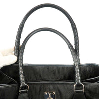 Christian Dior Trotter Canvas Leather Tote Bag Black
