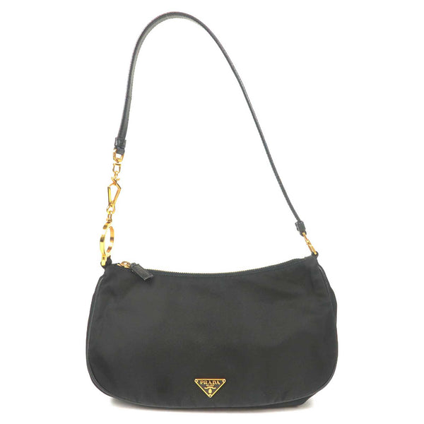 PRADA Nylon Leather Shoulder Bag Black BR0123