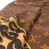 Louis Vuitton Carré Monogram Leopard Scarf Brown M72124