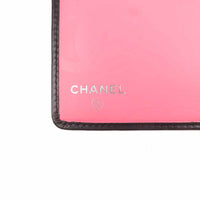 CHANEL Cambon Line Long Bi Fold Wallet Black Pink