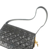 Christian Dior Cannage Lamb Skin Shoulder Bag Black