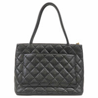 CHANEL Caviar Skin Tote Bag Black Gold Metal Fittings 9124283