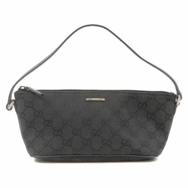 GUCCI GG Canvas Leather Hand Bag Purse Pouch 07198 Black